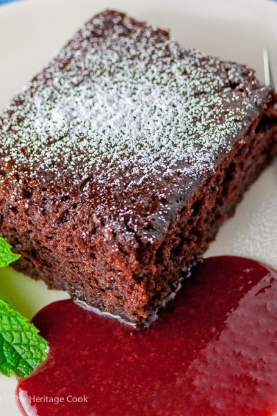 Easiest Chocolate Cake with Raspberry Sauce (Gluten-Free)