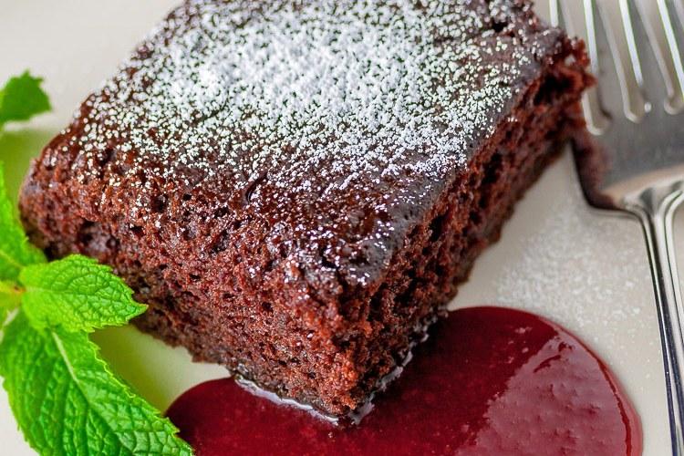 Easiest Chocolate Cake with Raspberry Sauce (Gluten-Free)