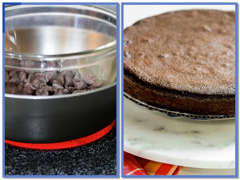 Melting chocolate & Freshly baked cake; Dark Chocolate Bourbon Cake with Whipped Ganache Frosting (Gluten-Free) © 2017 Jane Bonacci, The Heritage Cook