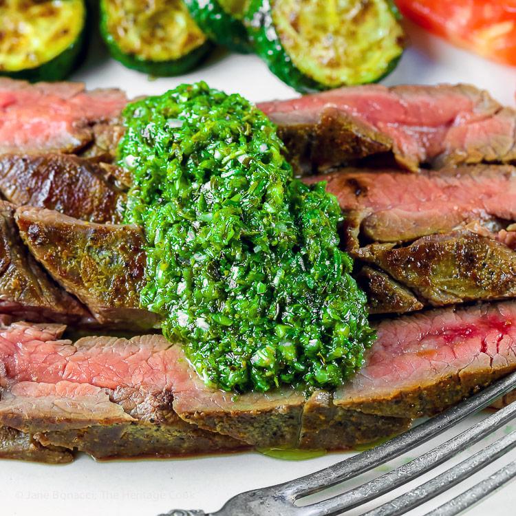 Flank Steak with Fresh Chimichurri Sauce #ProgressiveEats © 2017 Jane Bonacci, The Heritage Cook