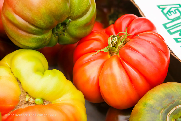 Heirloom tomatoes at the farmer's market; Gluten Free Summer Orzo Pasta Salad © 2017 Jane Bonacci, The Heritage Cook