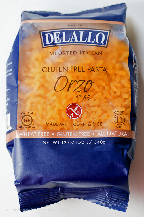 Bag of DeLallo gluten free orzo pasta; Gluten Free Summer Orzo Pasta Salad © 2017 Jane Bonacci, The Heritage Cook