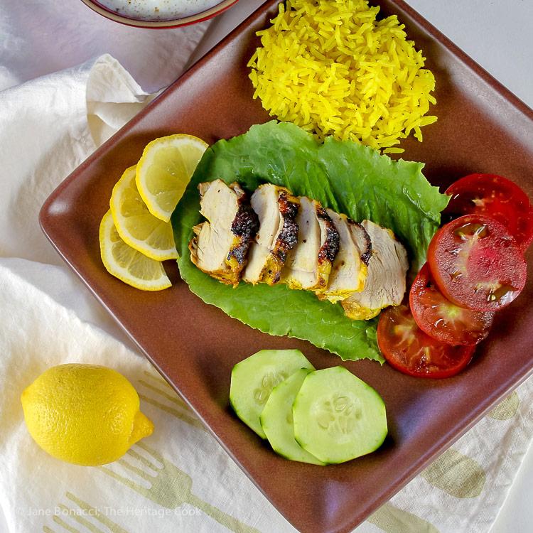 Tandoori Grilled Chicken with Cucumber Yogurt Sauce (Gluten-Free) © 2017 Jane Bonacci, The Heritage Cook