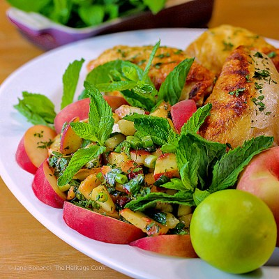 Peach Poblano Chimichurri Sauce with Grilled Chicken