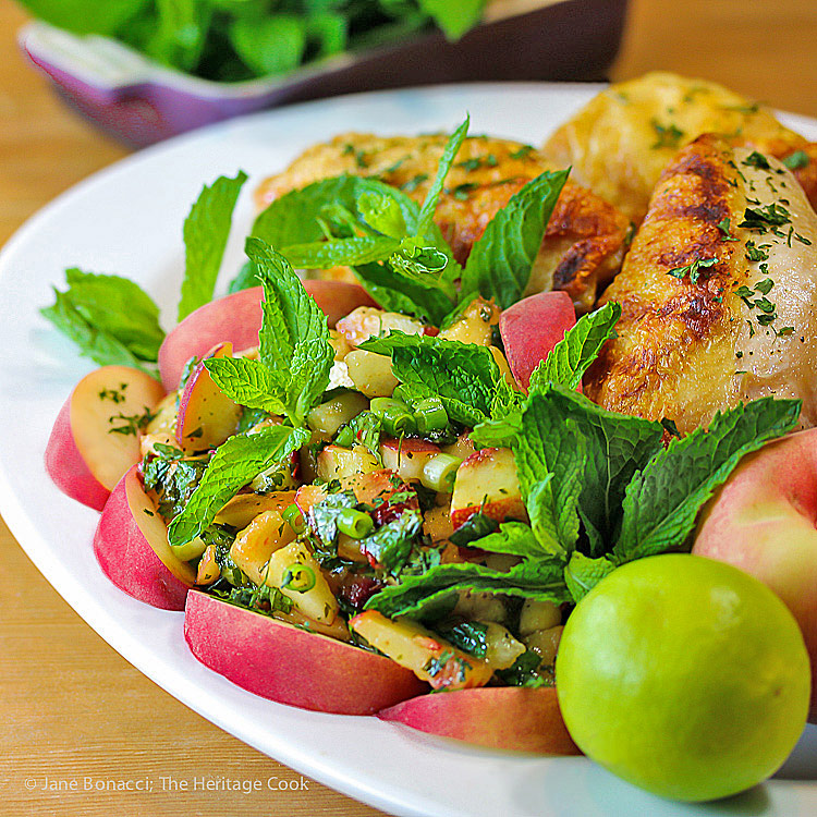 Peach Poblano Pepper Chimichurri Sauce with Grilled Chicken © 2017 Jane Bonacci, The Heritage Cook