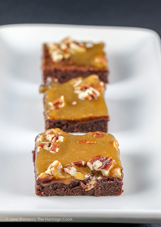 Dark Chocolate Brownies with Pecans and Caramel © 2017 Jane Bonacci, The Heritage Cook
