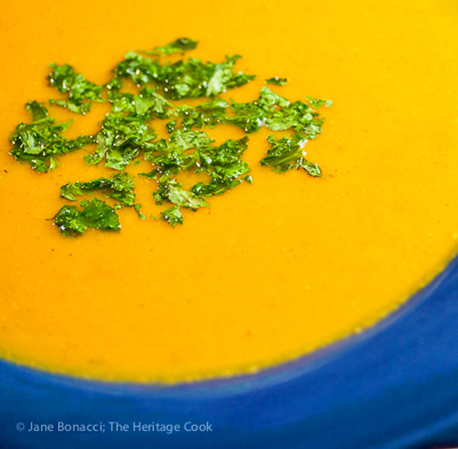 Roasted Sweet Potato Carrot Soup © 2017 Jane Bonacci, The Heritage Cook