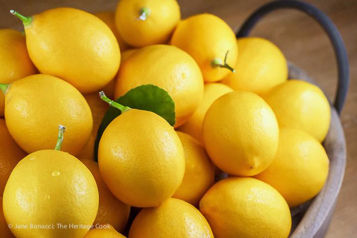 Pile of fresh lemons; Lemon Chicken and Rice Soup © 2017 Jane Bonacci, The Heritage Cook