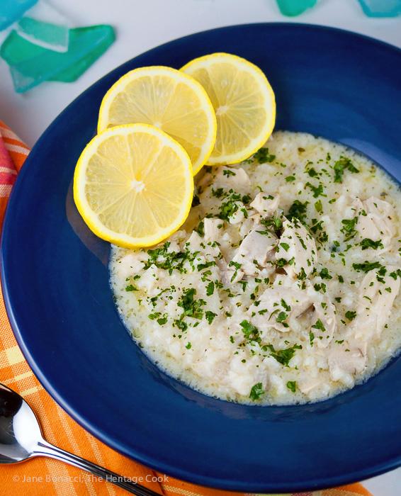 Lemon Chicken and Rice Soup © 2017 Jane Bonacci, The Heritage Cook