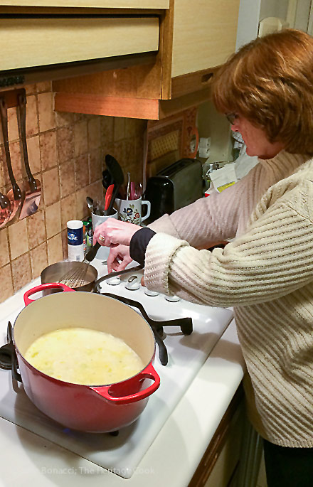 Me cooking in our Paris Kitchen; French Potato Leek Soup from my Paris Kitchen 2017 Jane Bonacci, The Heritage Cook