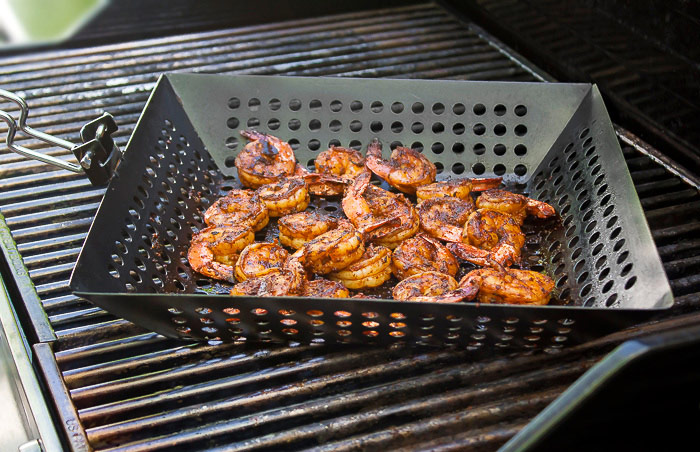 Use a nonstick grill basket for easiest grilling; Chipotle Orange Shrimp Cocktail for Valentine's Day © 2018 Jane Bonacci, The Heritage Cook