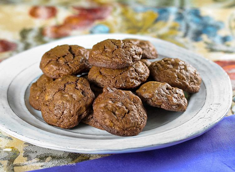 Plate of Double Chocolate Drop Cookies © 2018 Jane Bonacci, The Heritage Cook