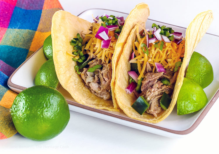Instant Pot Green Chile Pork Tacos (Gluten Free) © 2018 Jane Bonacci, The Heritage Cook
