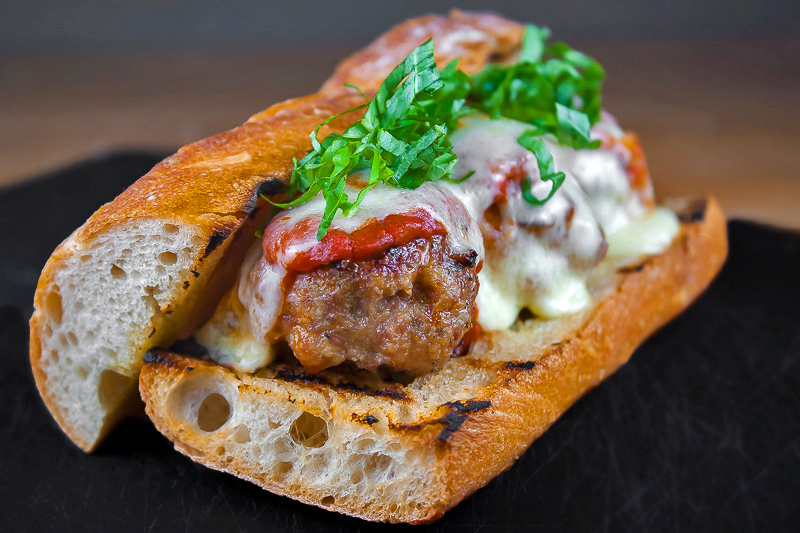 Grilled Meatball Hoagie Sandwiches with Spicy Tomato Sauce and Melted Cheese © 2018 Jane Bonacci, The Heritage Cook