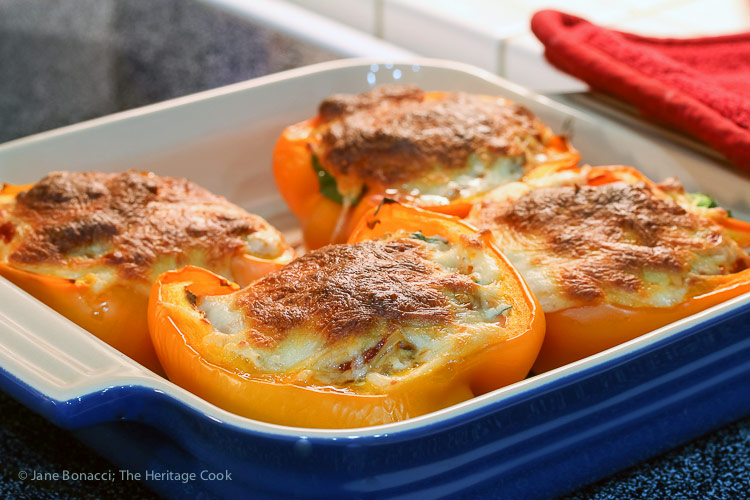 Hot from the oven; Lasagna Stuffed Peppers from The Everyday Ketogenic Kitchen cookbook © 2018 Jane Bonacci, The Heritage Cook