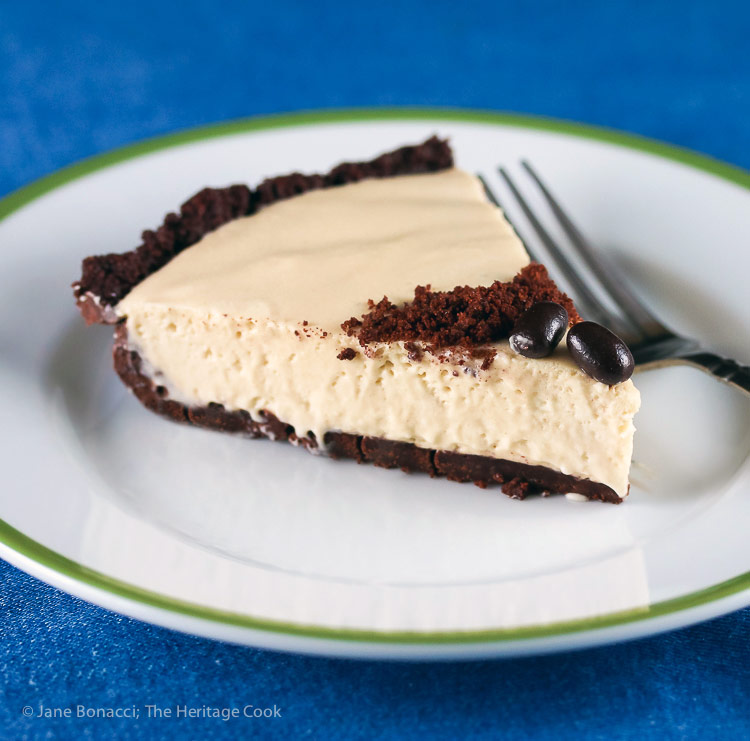 slice of pie on a plate; Kahlua Cream Pie with Chocolate Cookie Crust © 2016 Jane Bonacci, The Heritage Cook