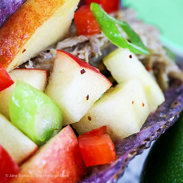 close up of the apple salsa on top of pork taco; Stemilt Piñata Apple Salsa with Pork Tacos © 2018 Jane Bonacci, The Heritage Cook