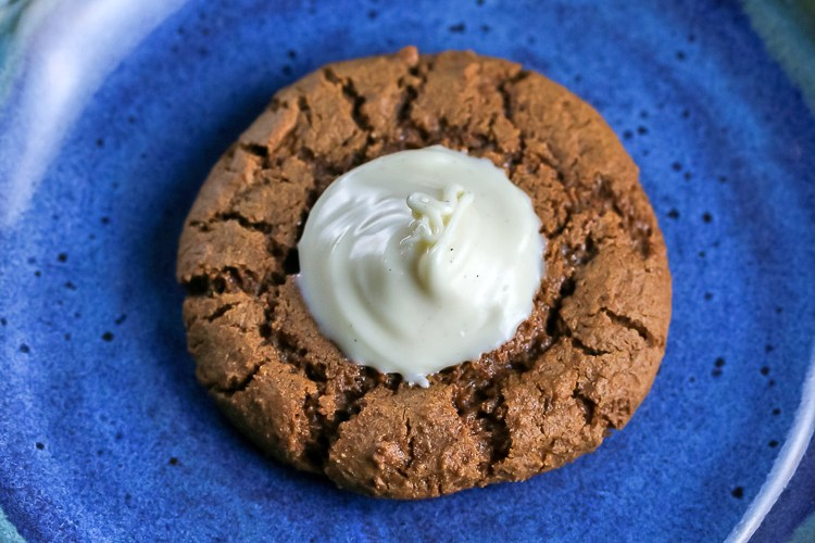 Ginger Thumbprint Cookies with White Chocolate Cream (Gluten Free)