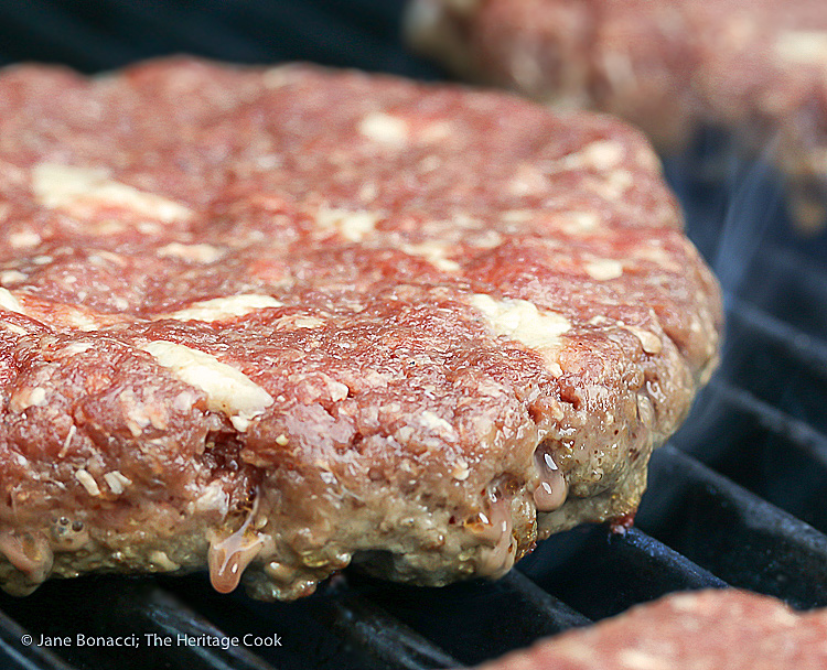 Buffalo burgers studded with bacon fat for amazing flavor! BBQ Green Chile Bacon Burgers © 2018 Jane Bonacci, The Heritage Cook