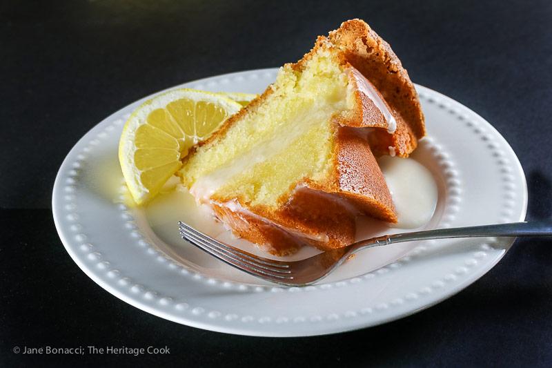 Slice of cake; Sculptured Lemon Buttermilk Pound Cake © 2018 Jane Bonacci, The Heritage Cook