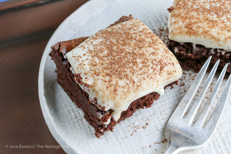 Two brownies in plate with fork; Brownies with Cheesecake Frosting (Gluten Free) © 2018 Jane Bonacci, The Heritage Cook