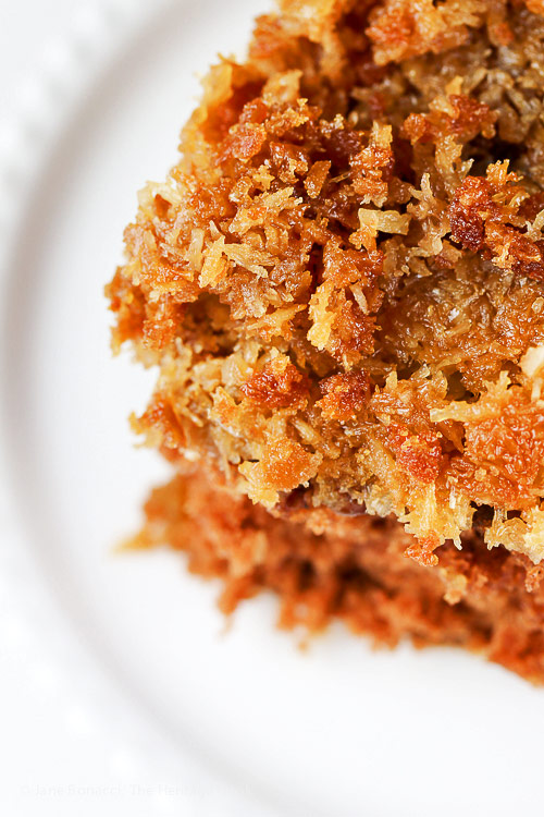 close up of pecan/coconut topping; Cockeyed German Chocolate Cake © 2018 Jane Bonacci, The Heritage Cook