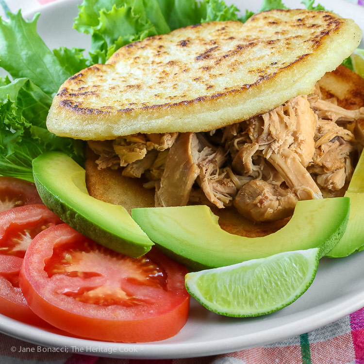 close up of Instant Pot Chicken Filled Arepas © 2018 Jane Bonacci, The Heritage Cook