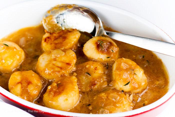 Scallops in sauce; Scallops in Garlic Shallot Butter Sauce © 2018 Jane Bonacci, The Heritage Cook