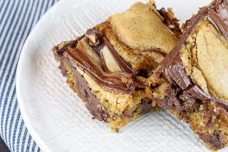 Chocolate Swirl Caramel Blondies (Gluten Free) © 2018 Jane Bonacci, The Heritage Cook
