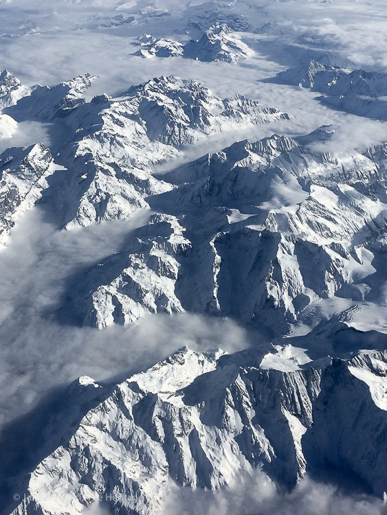 Alps from the air; French Cheeses event at Cafe Claude © 2018 Jane Bonacci, The Heritage Cook