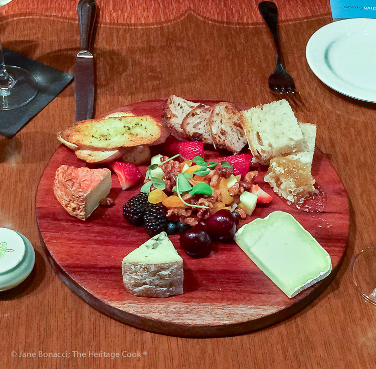 platter of cheeses; French Cheeses event at Cafe Claude © 2018 Jane Bonacci, The Heritage Cook