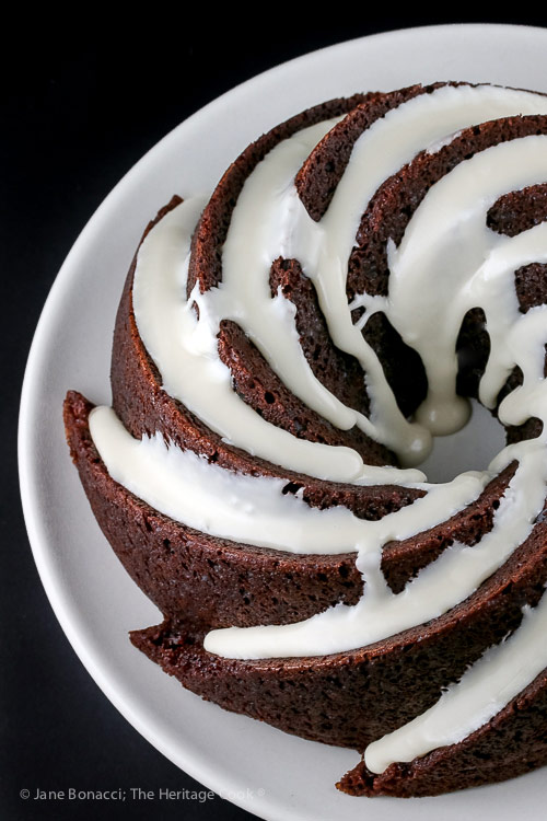 top down view of Deep Chocolate Zebra Cake (Gluten-Free) © 2018 Jane Bonacci, The Heritage Cook