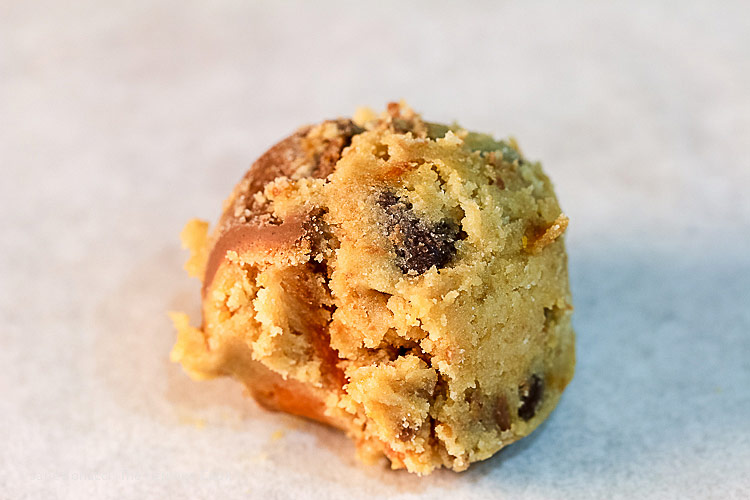 ball of cookie dough; Butterfinger Chocolate Chip Cookies © 2018 Jane Bonacci, The Heritage Cook