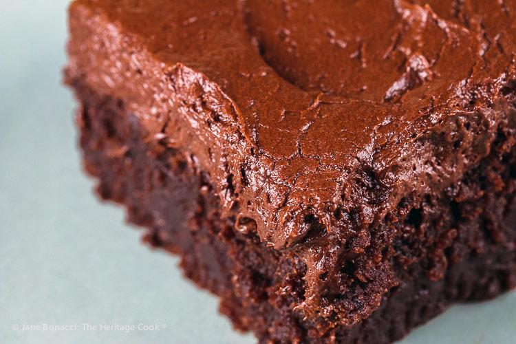 close up of slice of cake; Kahlua Chocolate Cake and Chocolate Frosting © 2018 Jane Bonacci, The Heritage Cook