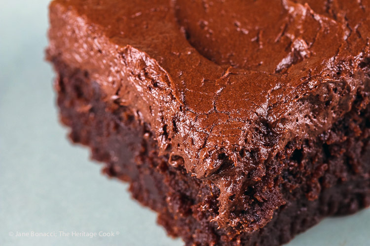 close up of slice of cake; Kahlua Chocolate Cake and Chocolate Frosting © 2018 Jane Bonacci, The Heritage Cook