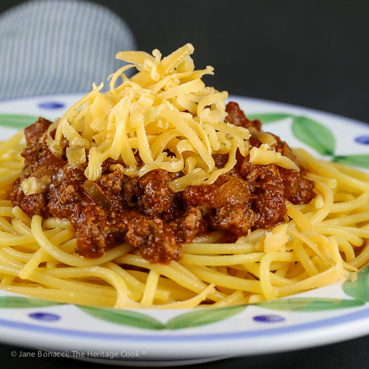 Secret Ingredient Ohio Chili with Spaghetti © 2018 Jane Bonacci, The Heritage Cook