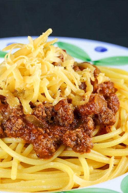 Secret Ingredient Ohio Chili with Spaghetti © 2018 Jane Bonacci, The Heritage Cook
