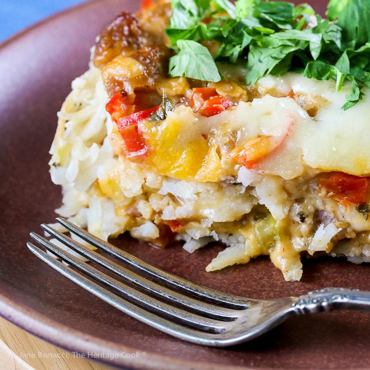 Cheesy Breakfast Hash Brown Casserole © 2018 Jane Bonacci, The Heritage Cook