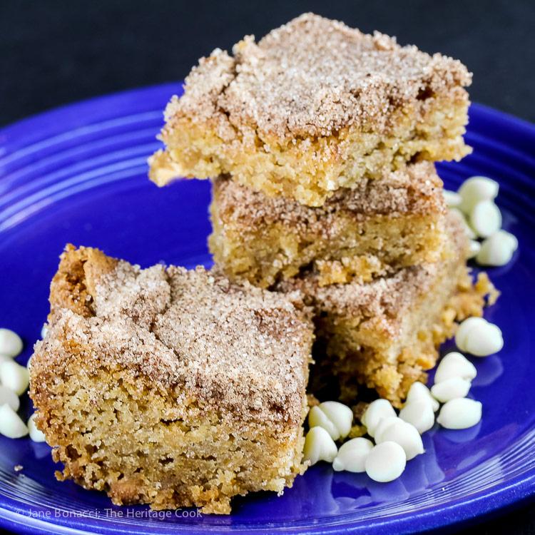 White Chocolate Snickerdoodle Bars (Gluten Free) © 2018 Jane Bonacci, The Heritage Cook