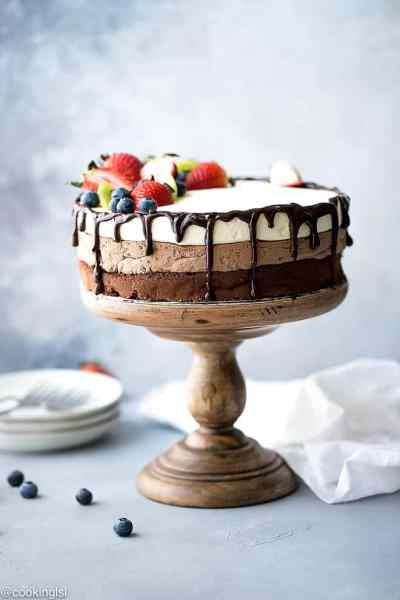 Triple Chocolate Mousse Cake; 12 Terrific Chocolate Cakes and Cupcakes; Assembled by Jane Bonacci, The Heritage Cook 2018