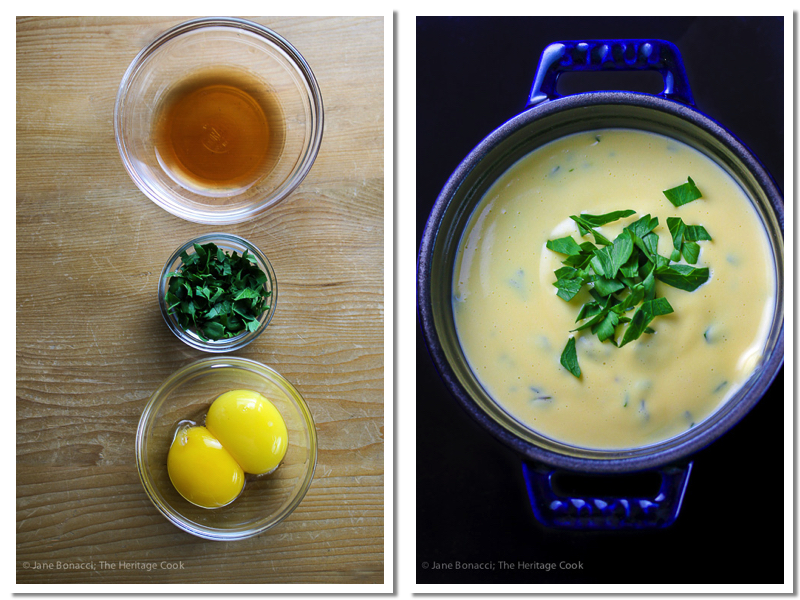 Ingredients for Bearnaise and final sauce; Holiday Foolproof Béarnaise Sauce (Gluten Free) © 2018 Jane Bonacci, The Heritage Cook