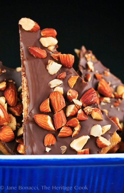 English Toffee; Top 15 Most Popular Chocolate Monday Recipes from The Heritage Cook 2018 Jane Bonacci, The Heritage Cook