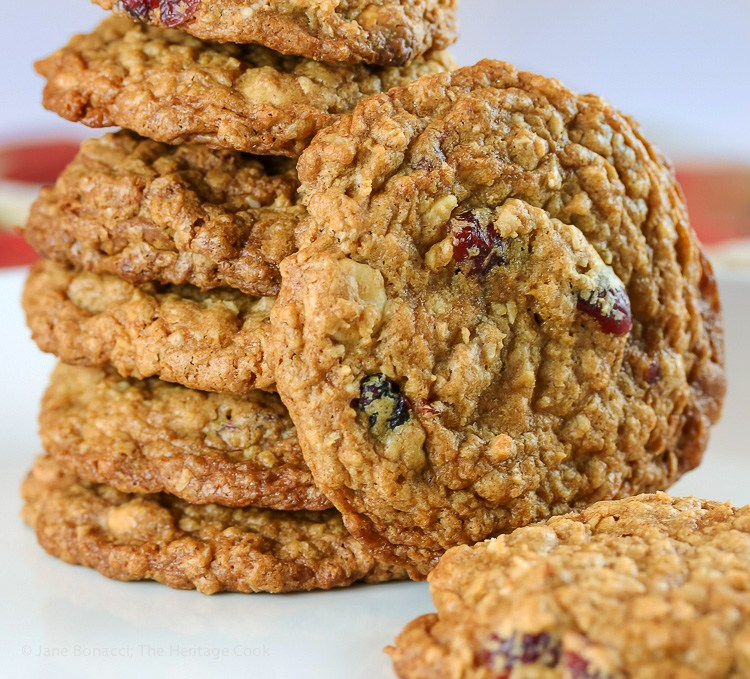 Oatmeal, Cranberry, White Chocolate Cookies; Top 15 Most Popular Chocolate Monday Recipes from The Heritage Cook 2018 Jane Bonacci, The Heritage Cook