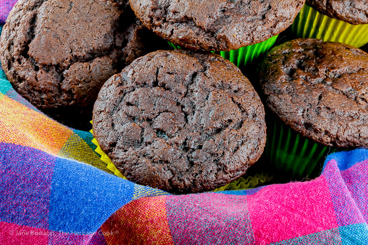 pile of muffins in basket; Gluten Free Chocolate Muffins © 2019 Jane Bonacci, The Heritage Cook