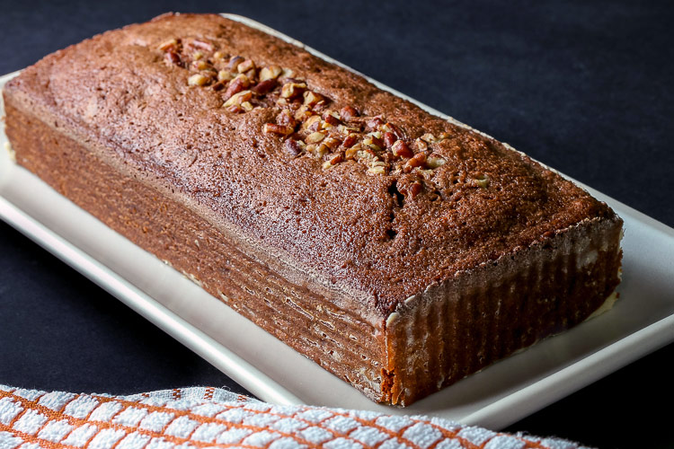 whole cake with pecans; Gluten Free Chocolate Tea Cakes © 2019 Jane Bonacci, The Heritage Cook