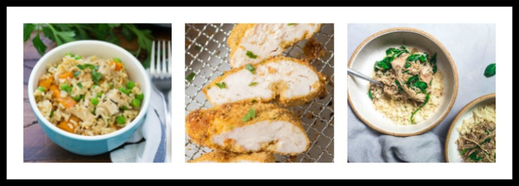 3 photos of chicken recipes; 15 Great Chicken Recipes collection, compiled by Jane Bonacci, The Heritage Cook