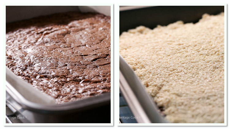 Brownie and Coconut layers; Rich Coconut Almond Brownies © 2019 Jane Bonacci, The Heritage Cook