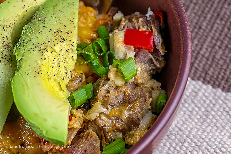 close up; Southwestern Pork, Chile, and Potato Casserole © 2019 Jane Bonacci, The Heritage Cook