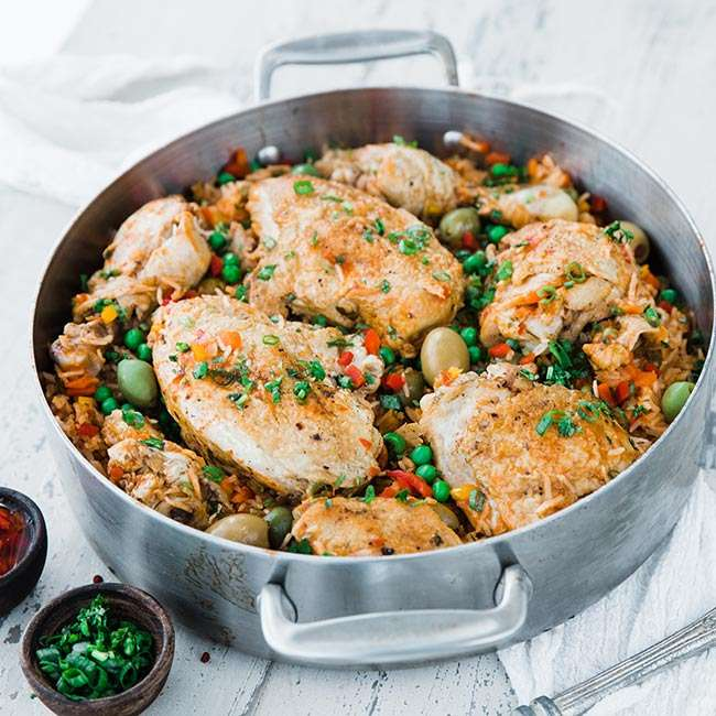 Arroz con Pollo; Collection of Healthy Chicken One Pot and Sheet Pan Dinners assembled by Jane Bonacci, The Heritage Cook 2019