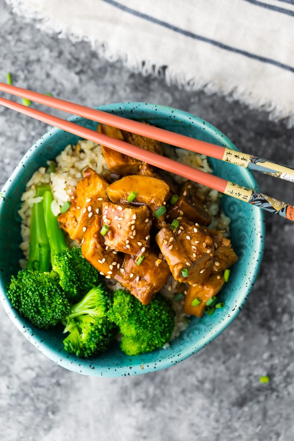Slow Cooker Teriyaki Chicken in bowl with broccoli and chopsticks; 15 Great Chicken Recipes collection, compiled by Jane Bonacci, The Heritage Cook